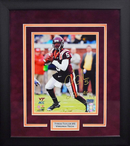 Tyrod Taylor Autographed Virginia Tech Hokies 8x10 Framed Photograph