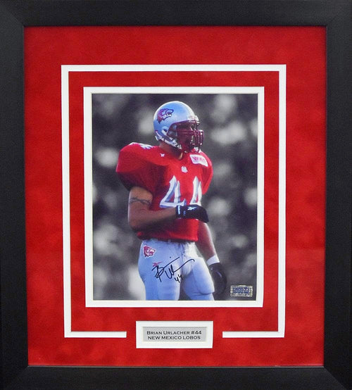 Brian Urlacher Autographed New Mexico Lobos 8x10 Framed Photograph (Spotlight)