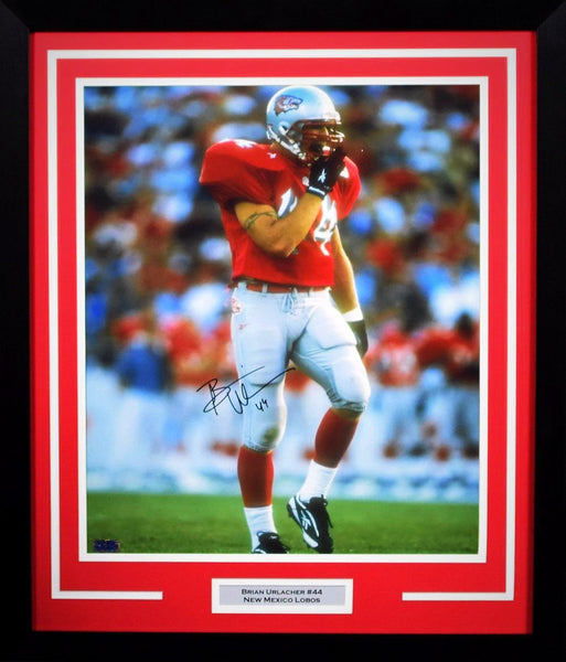 Brian Urlacher Autographed New Mexico Lobos 16x20 Framed Photograph