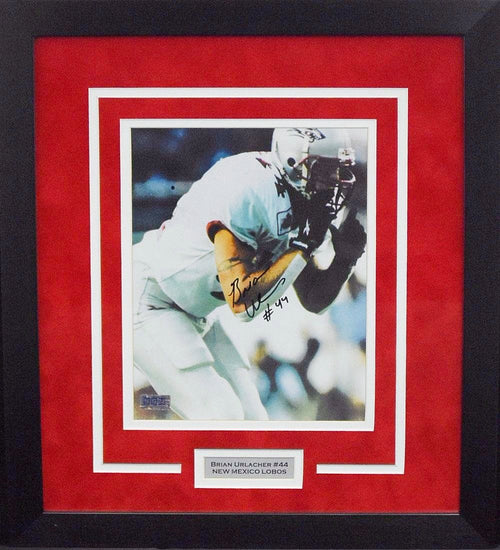 Brian Urlacher Autographed New Mexico Lobos 8x10 Framed Photograph (White)