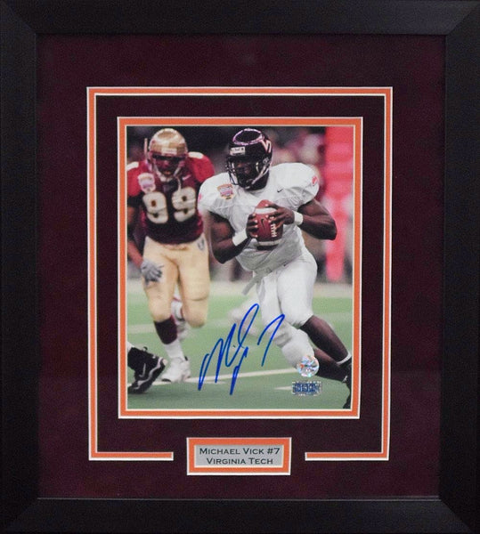 Michael Vick Autographed Virginia Tech Hokies 8x10 Framed Photograph (Sugar Bowl)