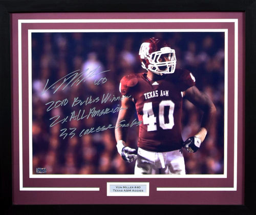 Von Miller Autographed Texas A&M Aggies 16x20 Framed Photograph (w/ inscriptions)