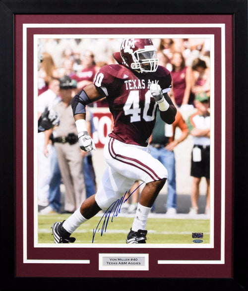 Von Miller Autographed Texas A&M Aggies 16x20 Framed Photograph (Running)