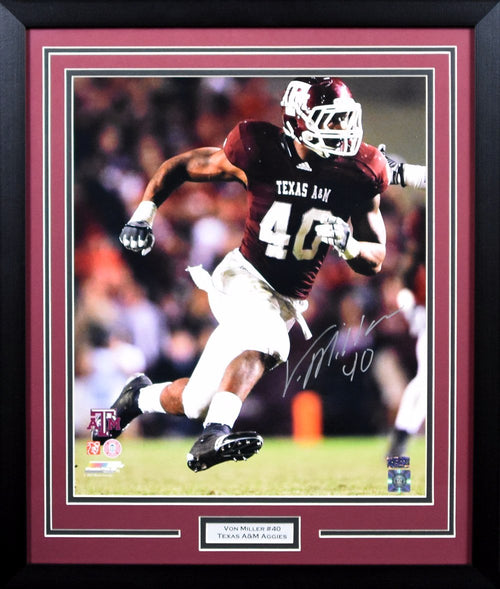 Von Miller Autographed Texas A&M Aggies 16x20 Framed Photograph (PhotoFile)