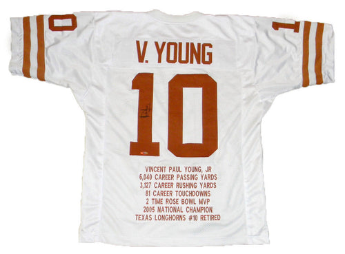 Vince Young Autographed Texas Longhorns #10 White Stat Jersey