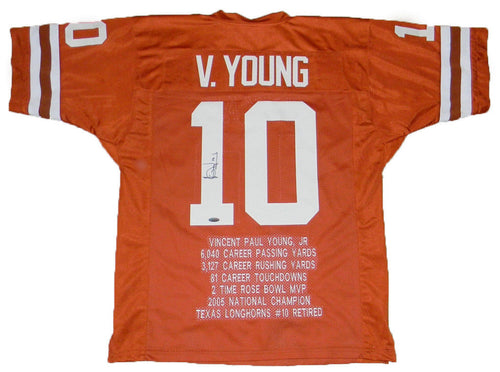 Vince Young Autographed Texas Longhorns #10 Stat Jersey
