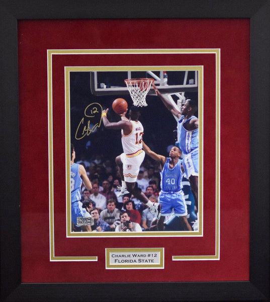 Charlie Ward Autographed Florida State Seminoles 8x10 Framed Photograph vs North Carolina