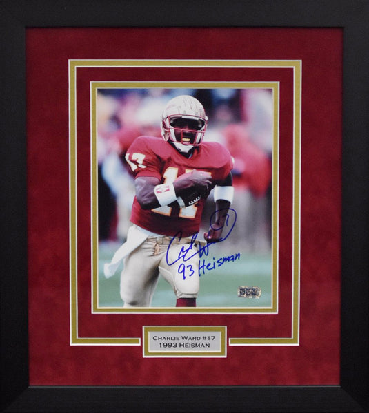 Charlie Ward Autographed Florida State Seminoles 8x10 Framed Photograph - Running