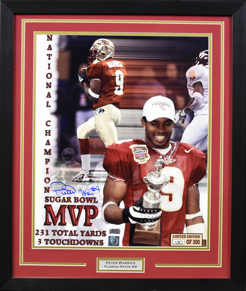 Peter Warrick Autographed Florida State Seminoles 16x20 Framed Photograph
