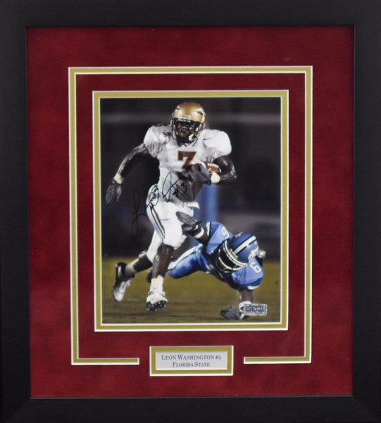 Leon Washington Autographed Florida State Seminoles 8x10 Framed Photograph