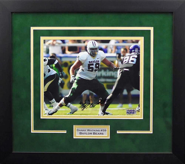 Danny Watkins Autographed Baylor Bears 8x10 Framed Photograph