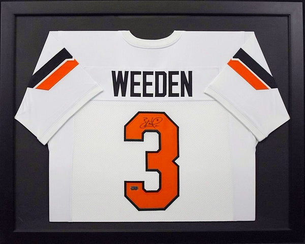 Brandon Weeden Autographed Oklahoma State Cowboys #3 Framed Jersey