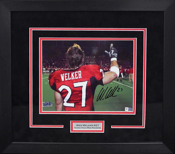 Wes Welker Autographed Texas Tech Red Raiders 8x10 Framed Photograph (Guns Up)