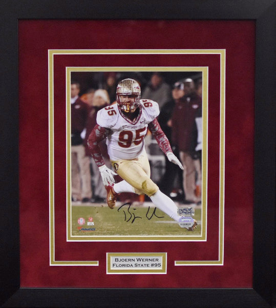 Bjoern Werner Autographed Florida State Seminoles 8x10 Framed Photograph - Vertical