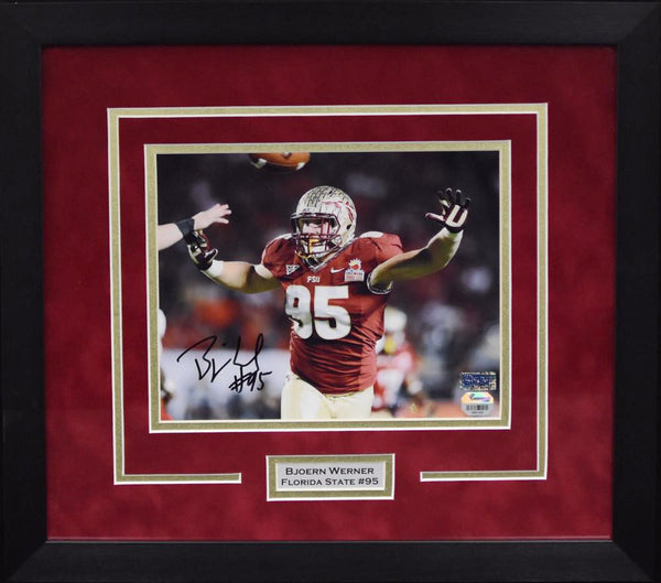 Bjoern Werner Autographed Florida State Seminoles 8x10 Framed Photograph - Horizontal