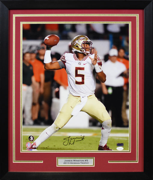 Jameis Winston Autographed Florida State Seminoles 16x20 Framed Photograph - Passing
