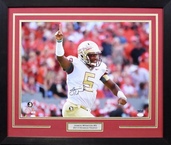 Jameis Winston Autographed Florida State Seminoles 16x20 Framed Photograph - Arm Up