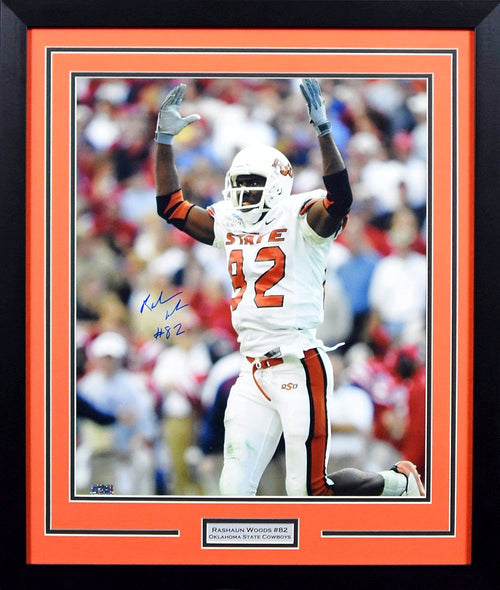 Rashaun Woods Autographed Oklahoma State Cowboys 16x20 Framed Photograph (Cotton Bowl)