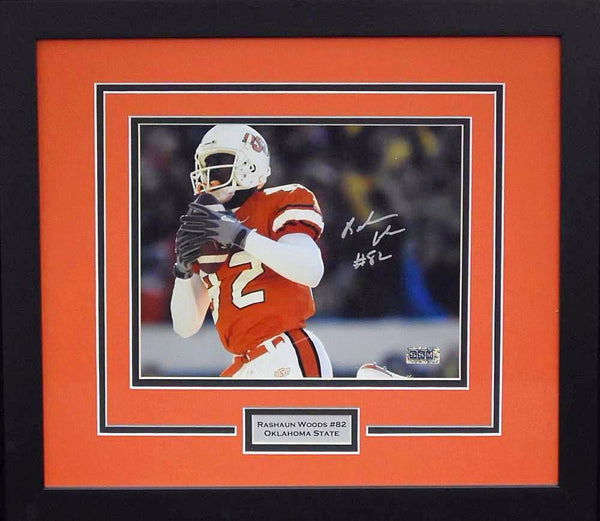 Rashaun Woods Autographed Oklahoma State Cowboys 8x10 Framed Photograph (Solo)