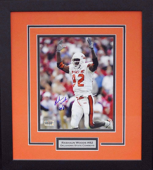 Rashaun Woods Autographed Oklahoma State Cowboys 8x10 Framed Photograph (Cotton Bowl)