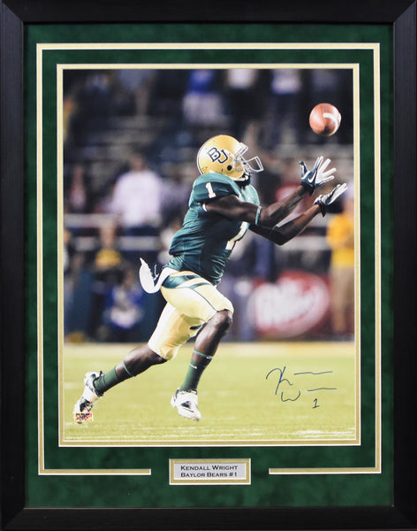 Kendall Wright Autographed Baylor Bears 16x20 Framed Photograph - Catching