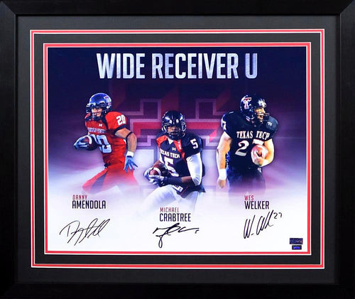 Wes Welker, Michael Crabtree & Danny Amendola Autographed Texas Tech Red Raiders 16x20 Framed Photograph