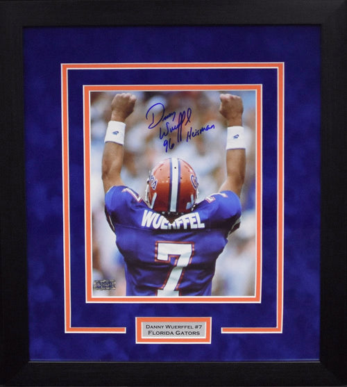 Danny Wuerffel Autographed Florida Gators 8x10 Framed Photograph (Arms Up)