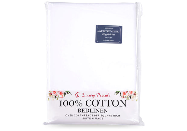 Gx 100% Cotton Percale Fitted Sheet
