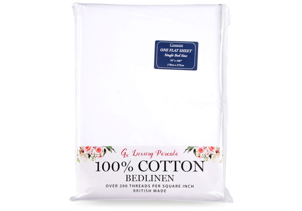 Gx 100% Cotton Percale Flat Sheet