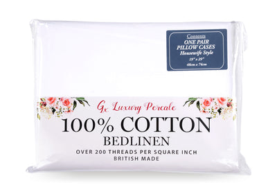 Gx 100% Cotton Percale Pillowcases - Pair