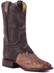 Rustic Caiman Head Saddle Boot
