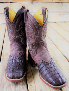 Chocolate Oiled Caiman Tail Saddle Comfort  Boot