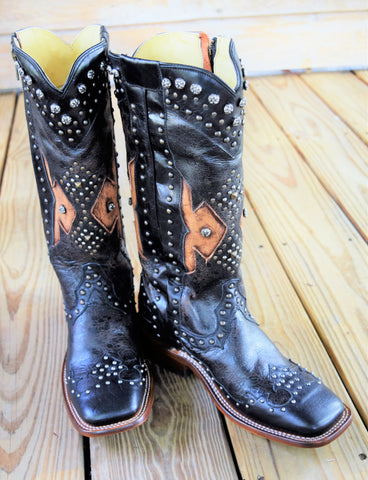 Black and Chocolate Studded Zipper Boot