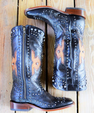 Black and Chocolate Studded Zipper Comfort Boot