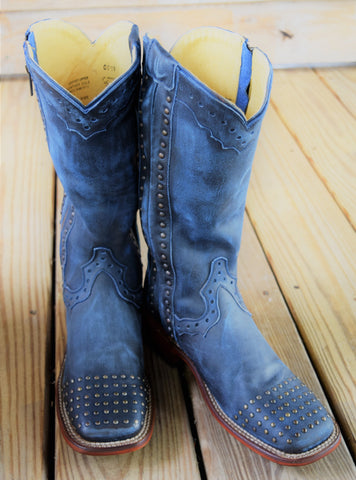 Vintage Blue Studded Zipper Boot