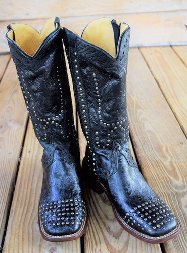 Black Floral Studded Zipper Comfort Boot