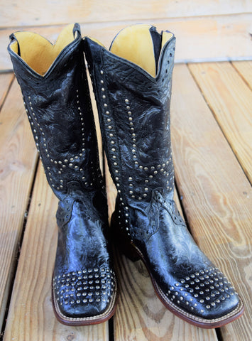 Black Floral Studded Zipper Boot