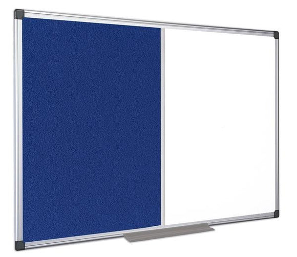 A blue felt notice board and white board combination board. Supplied by Novel Idea Online. Free Shipping and High-Quality assured.