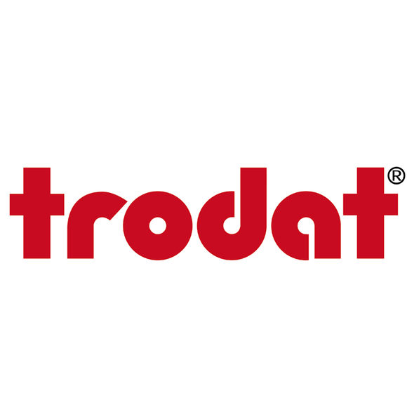 Trodat's striking company logo. Suppliers or Stamps, Self-Inking Stampers and Ink Pads, all of which are available at Competitive Prices at Novel Idea Online. Free Shipping on all orders.