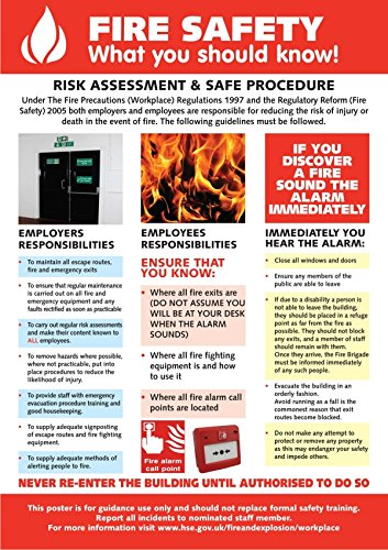 A fire safety poster. Novel Idea Online supply a wide selection of Health and Safety Posters for the workplace. Free Shipping and Great Value on all our quality posters.