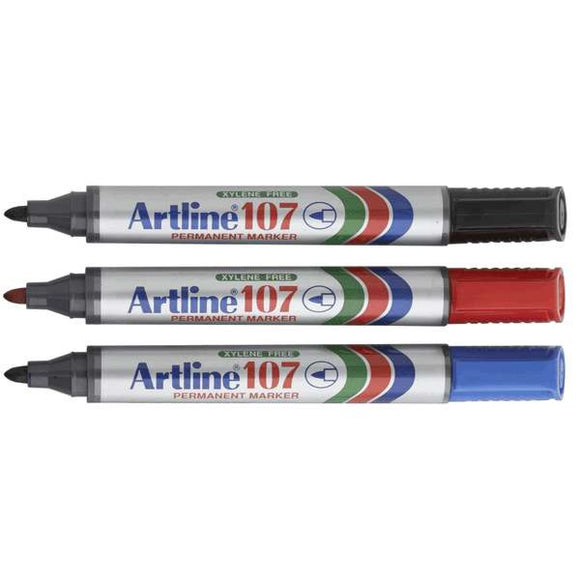 Artline 107 1.5mm Bullet Tip Dual-Ended Permanent Marker Pack 12