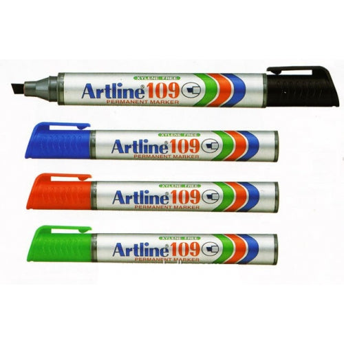 Artline 109 2-5mm Permanent Chisel Tip Marker Pack 12