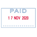 The Trodat, Office Word and Date Stamp is a brilliant tool for offices and administrative tasks. This Printy 4750 model prints the word PAID in Blue and the Date in Red.  Available at Novel Idea Online.co.uk. Free Shipping on all Orders.