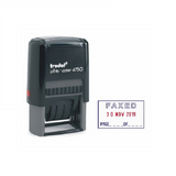 The Trodat, Office Word and Date Stamp is a brilliant tool for offices and administrative tasks. This Printy 4750 model prints the word FAXED in Blue and the Date in Red.  Available at Novel Idea Online.co.uk. Free Shipping on all Orders.