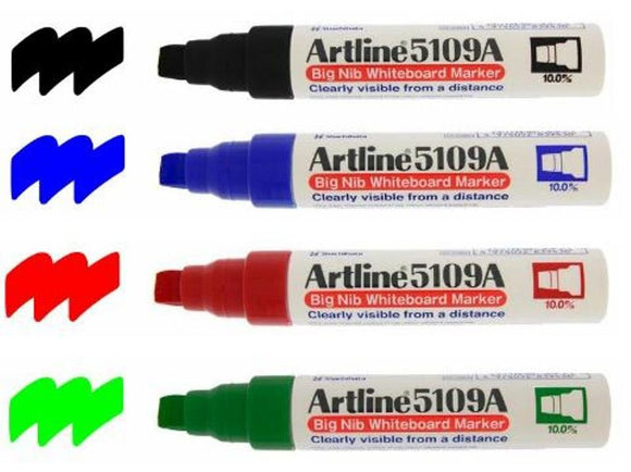 Artline 5109A Big Nib Assorted Colour Whiteboard Marker (Wallet of 4)