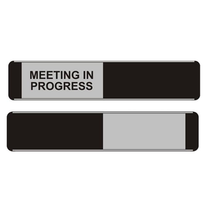 Steward Superior provide the highest quality sliding door signs, fantastic for offices. This Sliding Door Sign has the message 'Meeting In Progress' upon it. Available at Novel Idea Online. Free Shipping on all Orders.