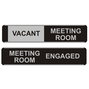Novel Idea Online stock a wide range of sliding door signs. This particular sliding door sign reads Vacant/Meeting Room/Engaged. Novel Idea Online offer free shipping on all orders.