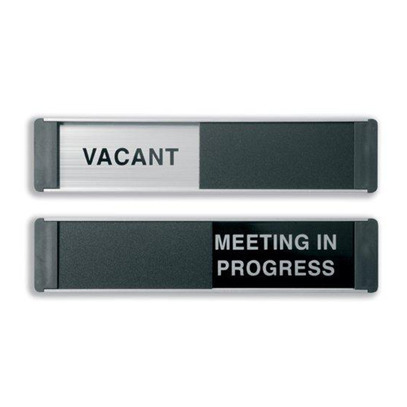 This Sliding Door Sign manufactured by Steward Superior displays the dual message of Vacant/Meeting In Progess. Steward Superior provide a wide range of Sliding Office Door Sign, perfect for offices. Novel Idea Online offer free shipping on all orders.