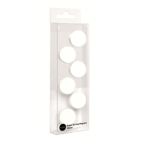 This image displays the bright white Anti-Microbial Super Strong Magnets in their packaging.