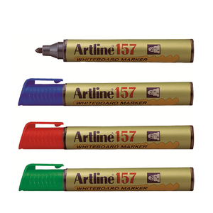 An image displaying the Blue, Red, Green and Black variation of Artline 157 Whiteboard Marker Pens.